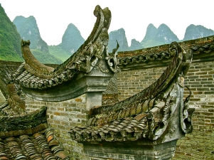 Roofs & Mountain Guilin China